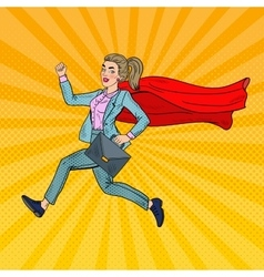 Pop art super business woman with red cape vector