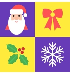 Christmas holiday symbols - santa bow holly and vector image