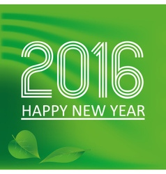 happy new year 2016 on green wave color background vector image