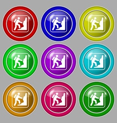 rock climbing icon sign symbol on nine round vector image vector image