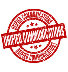 unified communications round red grunge stamp vector image vector image