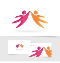Abstract two people holding hands together vector image vector image