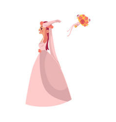 bride throwing her bouquet isolated vector image vector image
