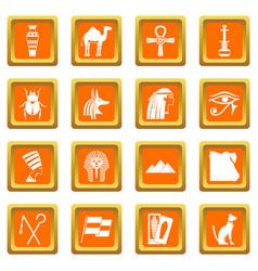 egypt travel items icons set orange vector image