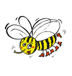 Flying funny bee vector