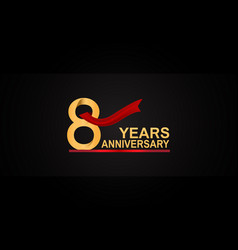 8 years anniversary design with red ribbon vector