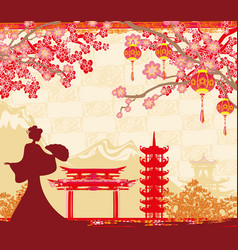 Abstract asian landscape and asian girl vector