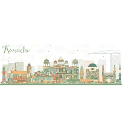 Abstract Karachi Skyline with Color Landmarks vector