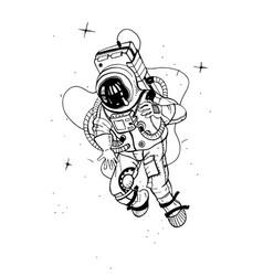 Astronaut in spacesuit cosmonaut into space vector