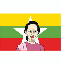 aung san suu kyi president of myanmar with flag vector image