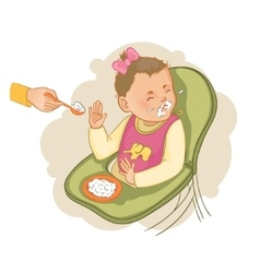 Baby girl in the baby chair refuses to eat pap vector