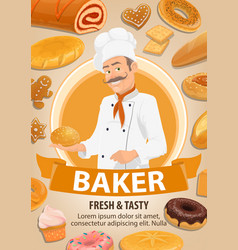 baker bread and cakes cartoon vector image