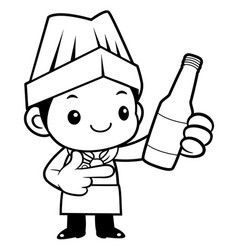 black and white executive chef mascot promotes a vector image