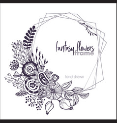 Black and white floral frame with bouquets vector