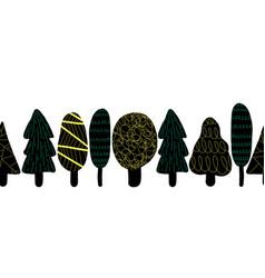 black tree silhouettes seamless border vector image