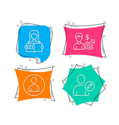 Business growth avatar and woman read icons edit vector