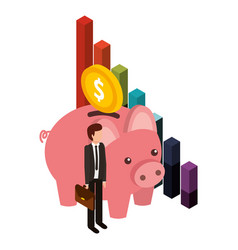 businessman with saving piggy and set icons vector image