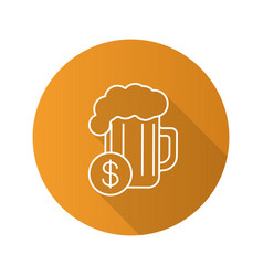 Buy beer flat linear long shadow icon vector