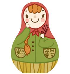 Cartoon cute matrioshka with red hair smiling vector
