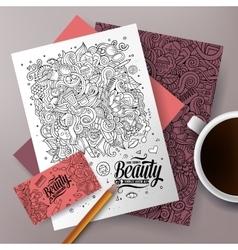 Cartoon doodles cosmetic corporate identity set vector image