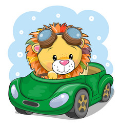 Cartoon lion in glasses goes on a green car vector