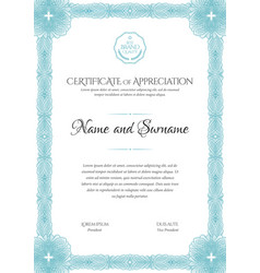 Certificate template frame for design diploma or vector