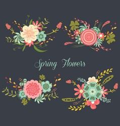 Chalkboard Spring Flowers vector