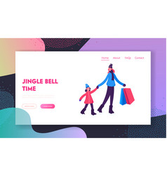 Christmas family shopping website landing page vector