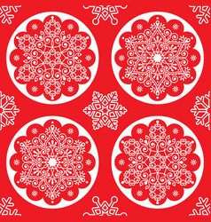 christmas folk pattern - white snowflake ma vector image