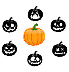 Collection of 6 pumpkins for Halloween Set 4 vector image