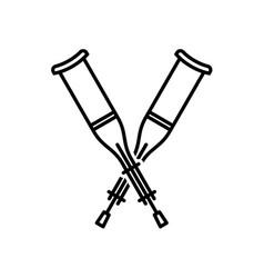 crutches crossed icon walking crutches logo vector image