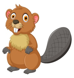 Cute beaver cartoon posing vector