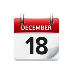 December 18 flat daily calendar icon vector