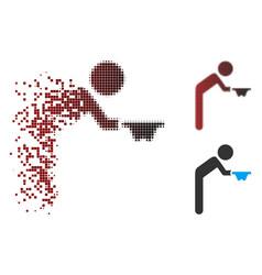 Destructed pixel halftone child beggar icon vector
