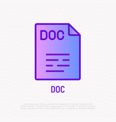 Doc file format thin line icon modern vector