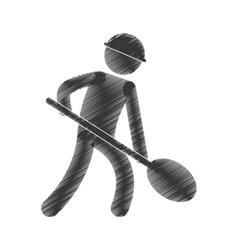 Drawing worker labor mine shovel figure pictogram vector