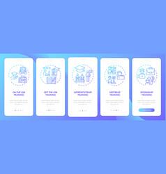 Employee training methods onboarding mobile app vector
