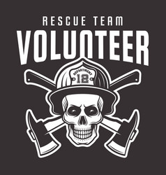 firefighter skull in helmet with text volunteer vector image