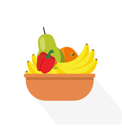 Flat fruits in basket with long shadow and vector
