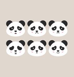 flat panda heads vector image