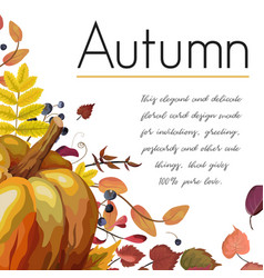 Floral watercolor style card design autumn vector