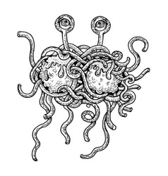 flying spaghetti monster engraving style vector image