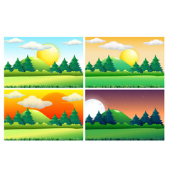 Four scenes of green fields at different times vector