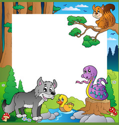 frame with forest theme 3 vector image