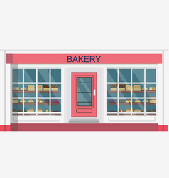 front view bakehouse building or bakery shop vector image