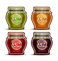 fruit jam in glass pot vector image