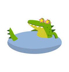 funny cartoon crocodile character wearing glasses vector image