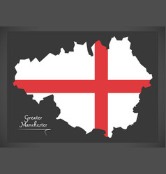 greater manchester map england uk with english vector image