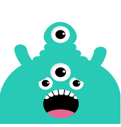 Green monster head with four eyes teeth tongue vector