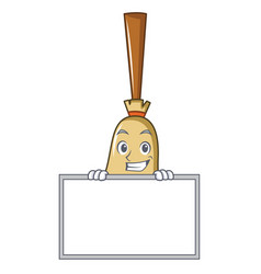 grinning with board broom character cartoon style vector image